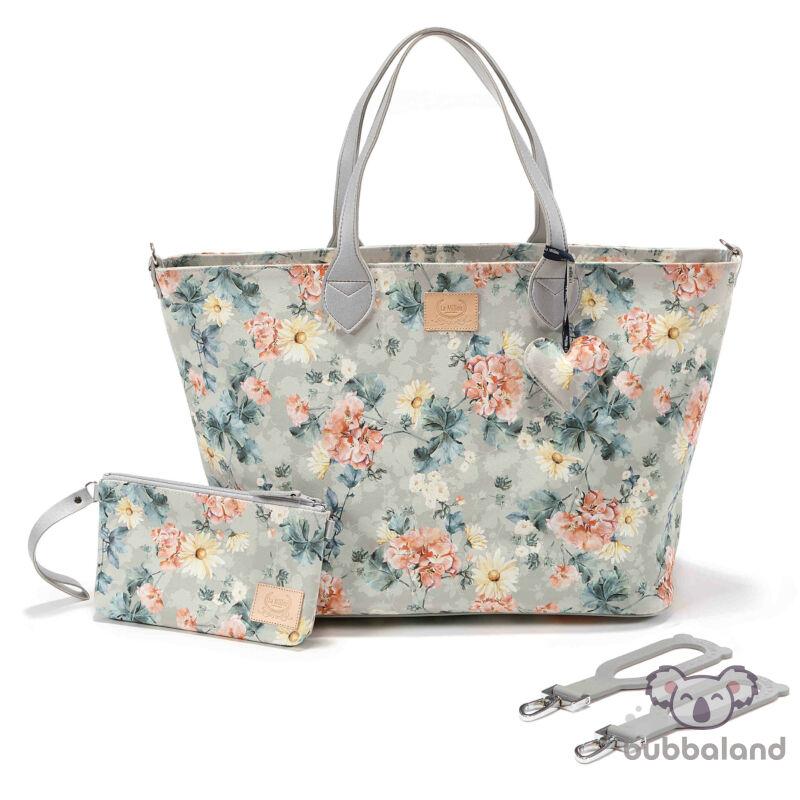 nagy méretű pelenkázó táska tavaszi virágzás szürke Blooming Boutique