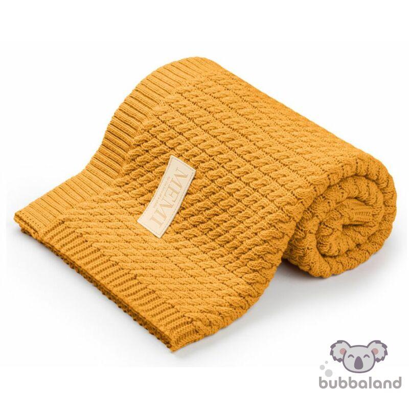 baba takaró kötött pamutból mustár színben