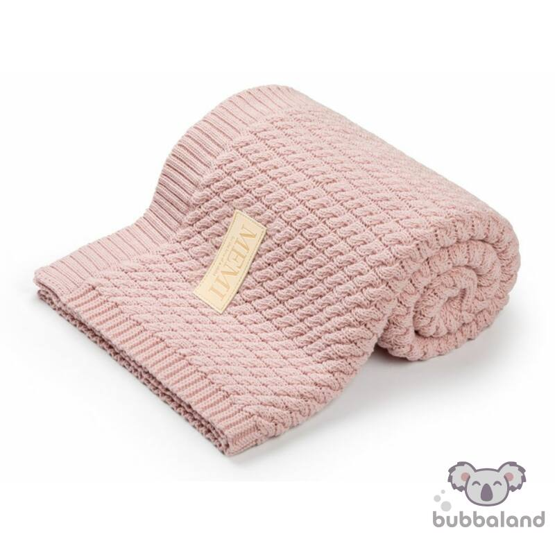 baba takaró kötött pamutból púder rózsaszín színben