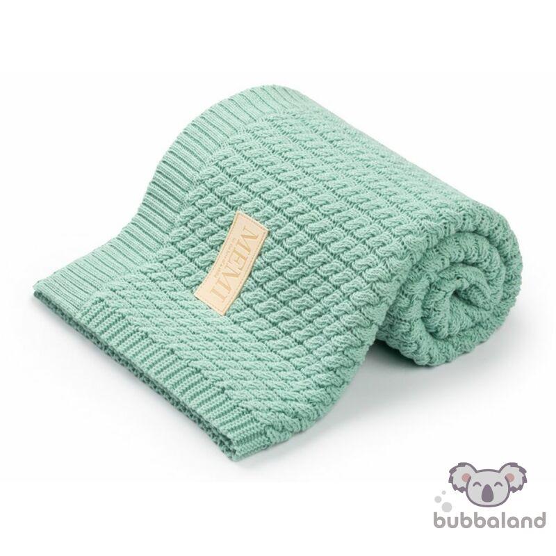 baba takaró kötött pamutból pisztácia színben