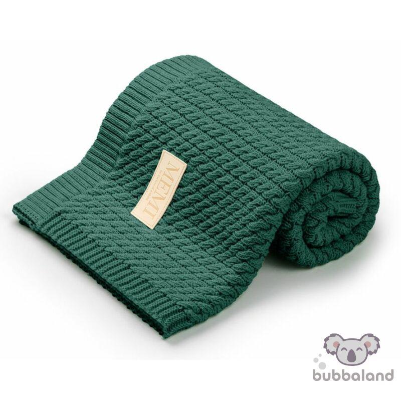 baba takaró kötött pamutból sötétzöld színben