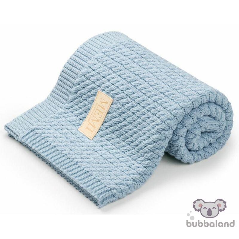 baba takaró kötött pamutból babakék színben