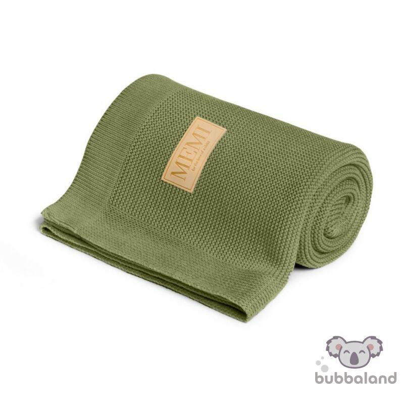 bambusz pamut kötött babatakaró khaki színben