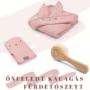 Kép 1/4 - fürdőlepedő mosdatókesztyű és baba hajekfe egy csomagban rózsaszín